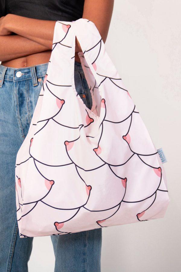 Boob design on reusable shopping bag