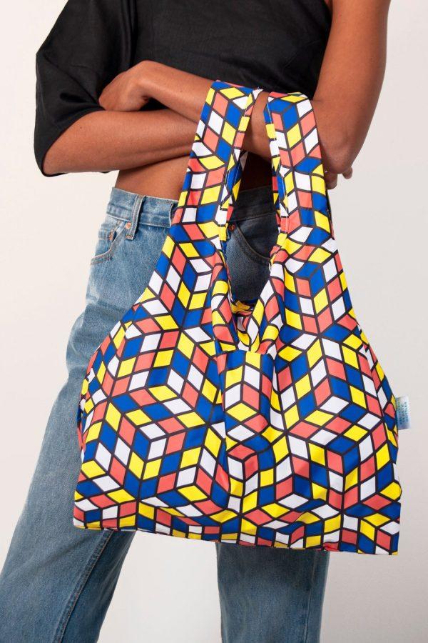 geometric design on reusable shopping bag
