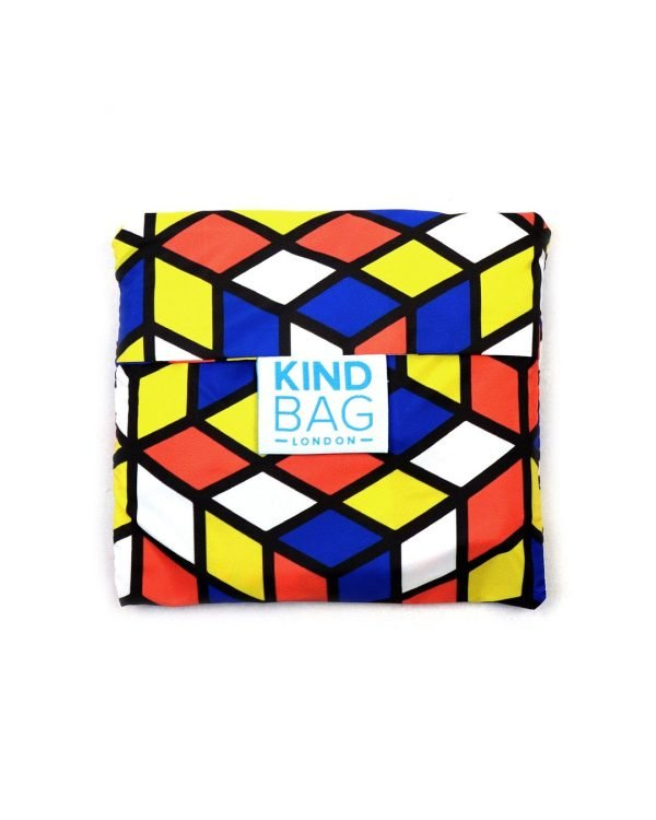 reusable shopping bag in pouch geometric design