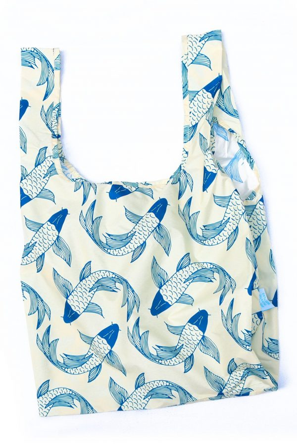 sustainable shopping bag with koi fish design