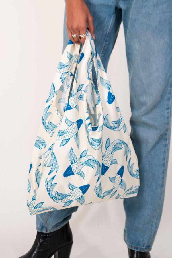 koi fish design on reusable shopping bag