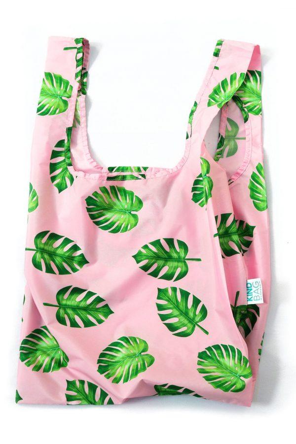 palm leaf design on reusable shopping bag