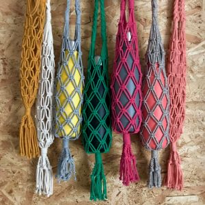bottles in macrame bottle bags