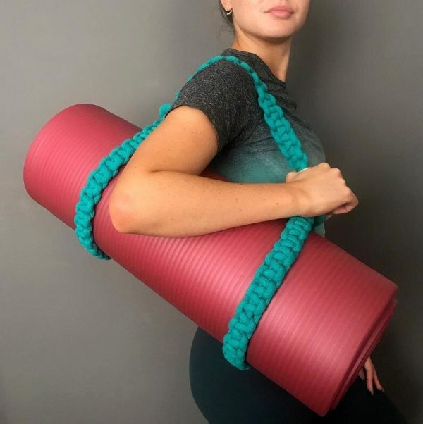 macrame yoga strap on yoga mat