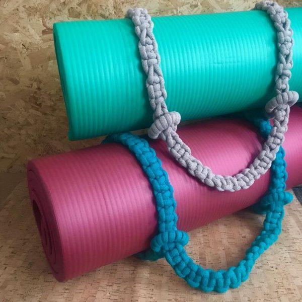 macrame yoga straps on mats