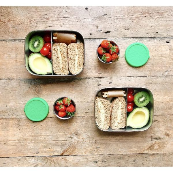 stainless steel lunchbox with two compartments