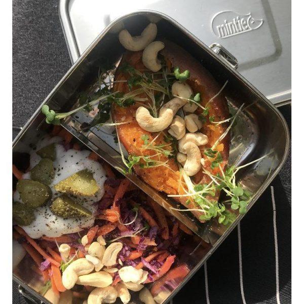 mintie snug steel lunchbox with food