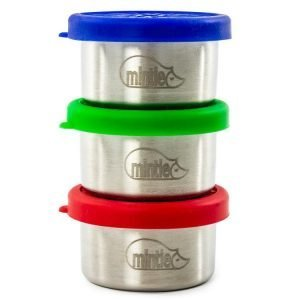 set of three stainless steel food pots