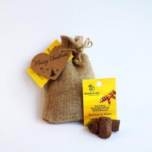 cloth bag of bee bombs