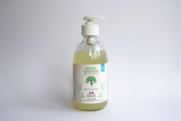 bottle of green goddess face wash