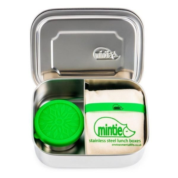 mintie steel lunchbox with pot and bag