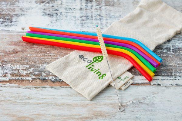 set of eco-friendly silicone straws