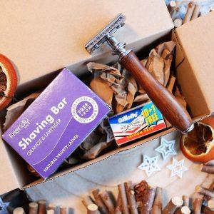 wooden razor and shaving bar set