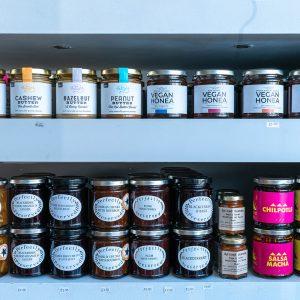 jars of vegan food on shelf
