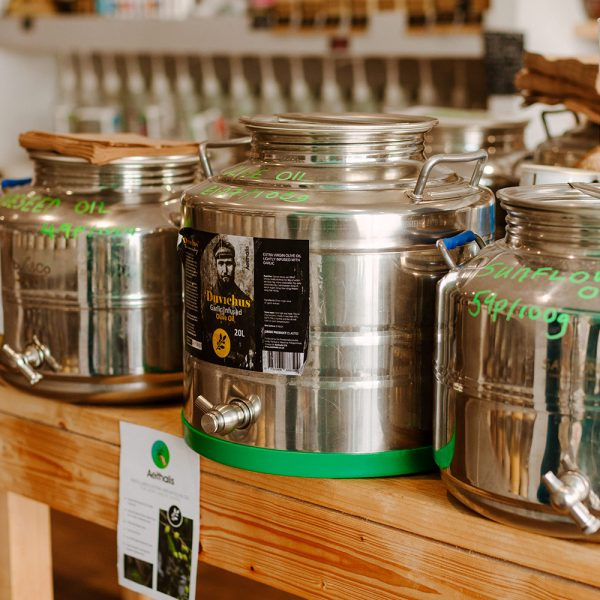 cooking oil containers in refill shop