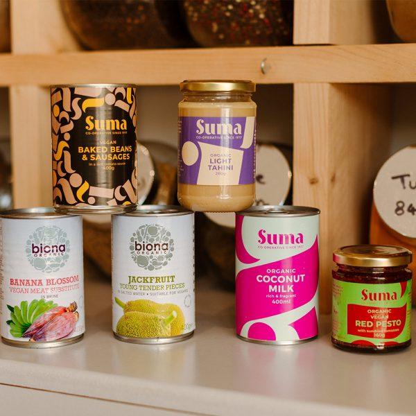 vegan food tins on shelf