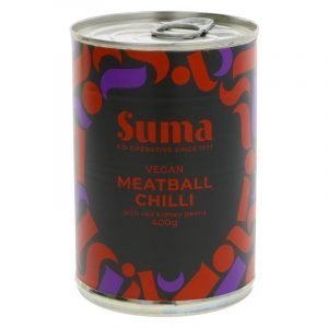 can of vegan meatball chilli