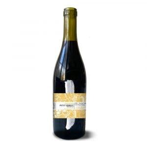Bottle of vegan red wine Petit Verdot