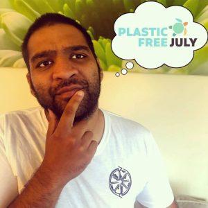 man thinking about plastic free July