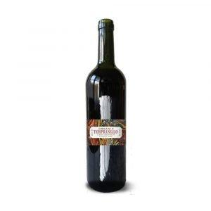 bottle of organic red wine Tempranillo