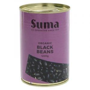 tins of organic black beans